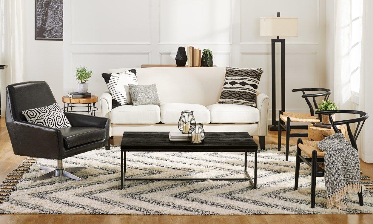 C mo decorar una sala de estar con muebles negros decoristas for Muebles industriales sala de estar